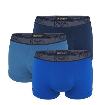 EMPORIO ARMANI - 3PACK stretch cotton blu reale boxerky-L (86-91 cm)