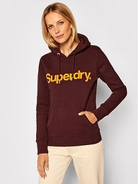 Superdry Mikina Cl Flock W2010381A Bordová Regular Fit