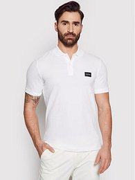 Calvin Klein Polokošeľa Stretch Pique Badge K10K107289 Biela Slim Fit