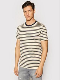 Jack&Jones Tričko Striped 12164640 Hnedá Slim Fit