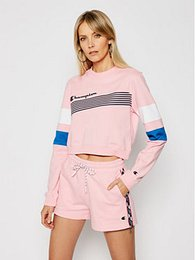 Champion Mikina Graphic Stripe And Colour Block 112761 Ružová Custom Fit