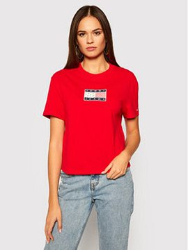 Tommy Jeans Tričko Star Americana Flag DW0DW08482 Červená Regular Fit