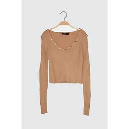 Trendyol Camel V Collar Knitwear Sweater