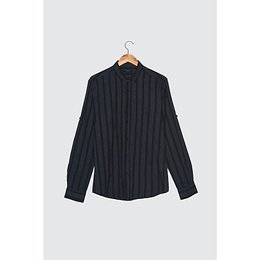 Trendyol Navy Blue Men's Striped Shirt Collar Slim Fit Shirt with Apolet
