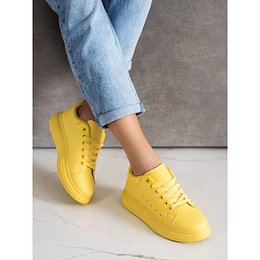SHELOVET YELLOW SNEAKERS ON THE PLATFORM