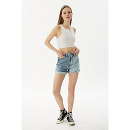 Trendyol Blue Color Block Asymmetric Closure Denim Shorts