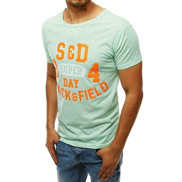 Green men's T-shirt with print RX4285