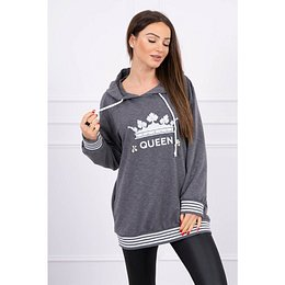 Sweatshirt with Queen inscription Plus Size graphite