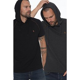 TWIN SET T8570 DEWBERRY HOODED MEN's T-SHIRT-BLACK-ANTHRACIC