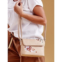 Beige handbag with embroidered flowers
