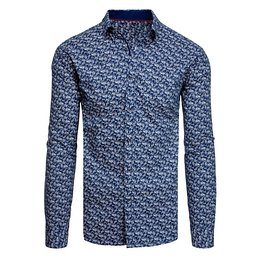Navy blue men's shirt with patterns DX1942
