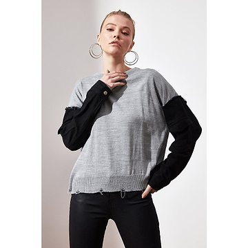 Trendyol Grey Sleevedenim Detailed Knitwear Sweater