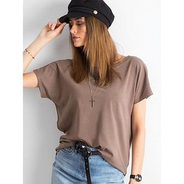 Brown T-shirt with a neckline on the back