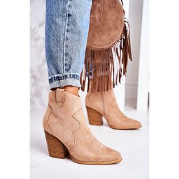 Women's Insulated Cowboy Boots On A Heel Beige Margaret
