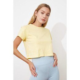 Trendyol Yellow 100% Cotton Süprem Bicycle Collar Crop Knitted T-Shirt
