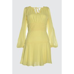 Trendyol Yellow Ribbed Detail Dress