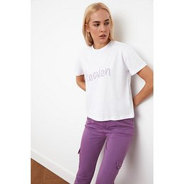 Trendyol White Printed Semi-Fitted Knitted T-Shirt