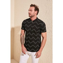 Trendyol Black Men Zipper Detailed Polo Collar T-Shirt
