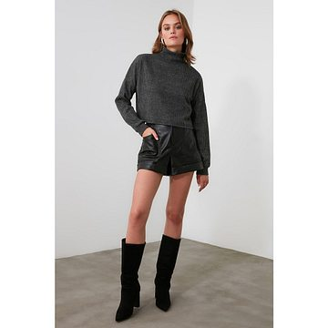 Trendyol Anthracite Turtleneer Knitted Blouse
