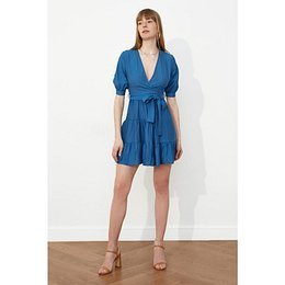 Trendyol Indigo Belt Cruise Collar Dress