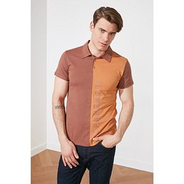 Trendyol Brown Men Slim Fit Short Sleeves Color Block Polo Neck T-shirt