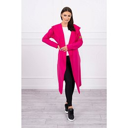 Long cardigan with hood fuchsia