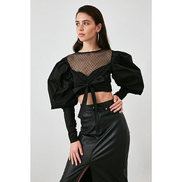 Trendyol Black Puantiye Tulle Detailed Blouse