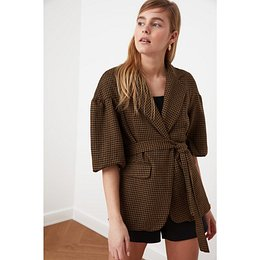 Trendyol Brown Tie Detailed Jacket