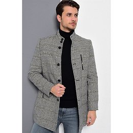 PLT8386 DEWBERRY MEN's COAT-PLAID-LACİVERT