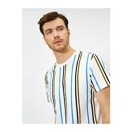 Koton Men's Black Striped T-Shirt