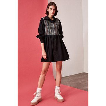 Trendyol Black Tweed Detailed Dress