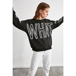 Trendyol Black Printed Boyfriend Knitted Sweatshirt
