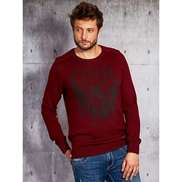 Men´s sweater with a burgundy print