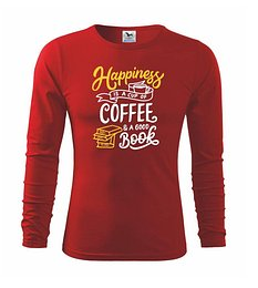 Happiness is a Cup of Coffee and a Good Book - Tričko detské Long Sleeve