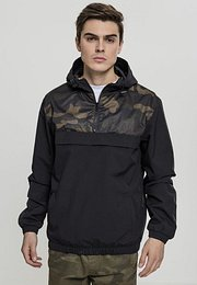 Urban Classics 2-Tone Camo Pull Over Jacket black/woodcamouflage - XXL