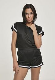 Urban Classics Ladies Short Extended Shoulder Stripes Mesh Tee black - L