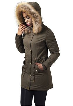Urban Classics Ladies Sherpa Lined Peached Parka olive - XS