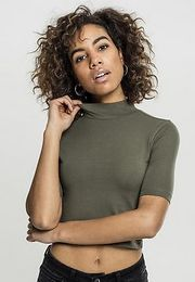 Urban Classics Cropped Turtleneck Tee olive - L