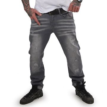 Yakuza pánske jeansy DESTROYER STRAIGHT JEANS JEB 15044 grey havoc - 38