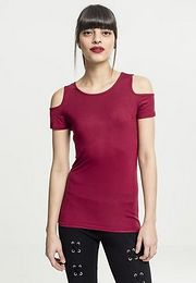 Urban Classics Ladies Cutted Shoulder Tee burgundy - XL