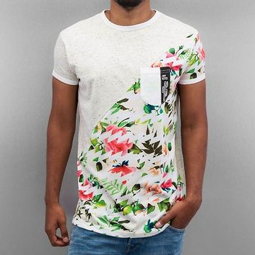 Just Rhyse Floral T-Shirt Light Grey Speckled - L