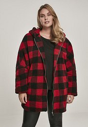 Urban Classics Ladies Hooded Oversized Check Sherpa Jacket fire red/black - S