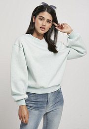 Urban Classics Ladies Oversized Color Melange Crewneck aqua melange - XS