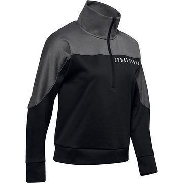 Under Armour Athlete Recovery Knit 1/2 Zip-BLK - XS
