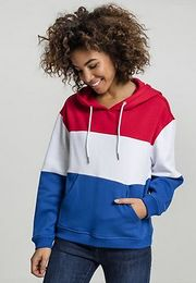 Urban Classics Ladies Oversize 3-Tone Hoody fire red/white/royal - XL